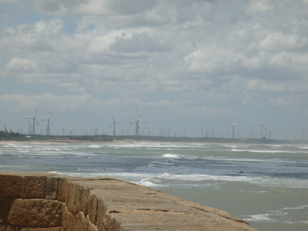 Windmills as seen from the Vattakottai fort.